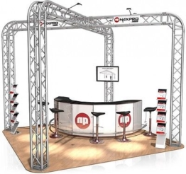 Messestand FD 34 Traversen  - 6 x 6 x 3,5 m - 36 m²